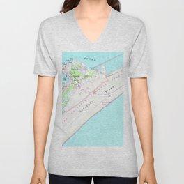 Vintage Map of Ocracoke North Carolina (1948) Unisex V-Neck