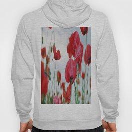 Field of Poppies Against Grey Sky Hoody