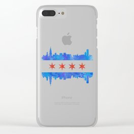 Chicago Flag Skyline Watercolor Clear iPhone Case