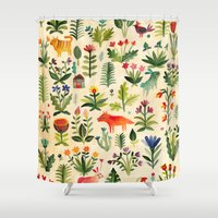 garden Shower Curtains featuring Garden by AITCH