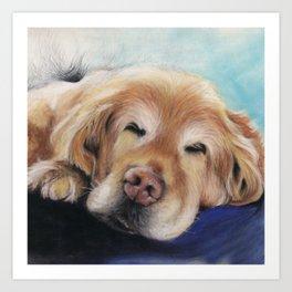 Sweet Sleeping Golden Retriever Puppy by annmariescreations Art Print