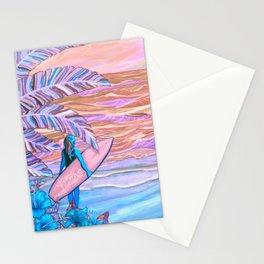 Hawaiian Coral And Teal Surfer Fine Art Stationery Cards