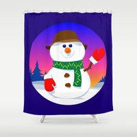 snowman Shower Curtains featuring SnowMan by tuditees