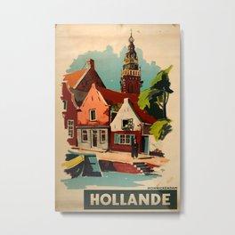 Hollande Vintage Travel Poster Metal Print