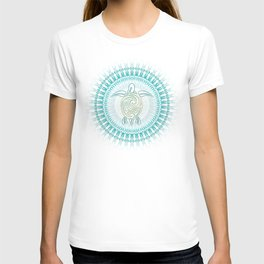 Turquoise Green Turtle And Mandala T-shirt