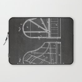 Steinway Grand Piano Patent - Piano Player Art - Black Chalkboard Laptop Sleeve