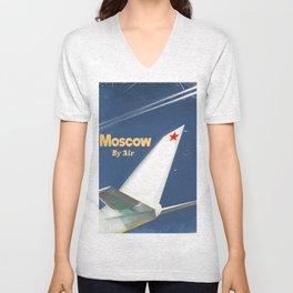 Moscow Vintage travel poster Unisex V-Neck