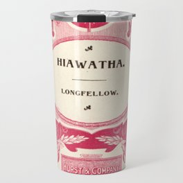 Antique Book Literacy Art * Hiawatha * Longellow * burgundy burgandy maroon cream Travel Mug
