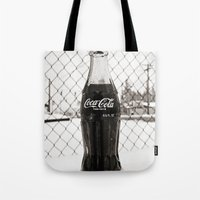 coke Tote Bags featuring Frosty Coke by Vorona Photography