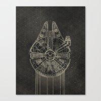 millenium falcon Canvas Prints featuring Millennium Falcon by LindseyCowley
