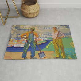 African American Masterpiece 'Art of Union - The Building of America' landscape by Winold Reiss Rug
