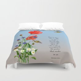 Now to Him Who Is Able to do Exceedingly Abundantly Ephesians 3  Nature Watercolour Duvet Cover