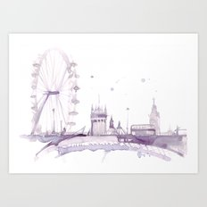 Watercolor landscape illustration_London Eye Art Print