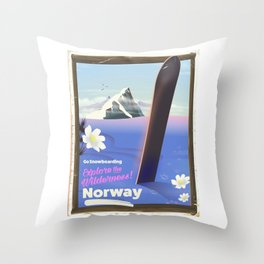 Norway Snowboarding poster Throw Pillow