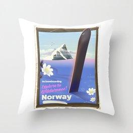 Norway Snowboarding poster Throw Pillow
