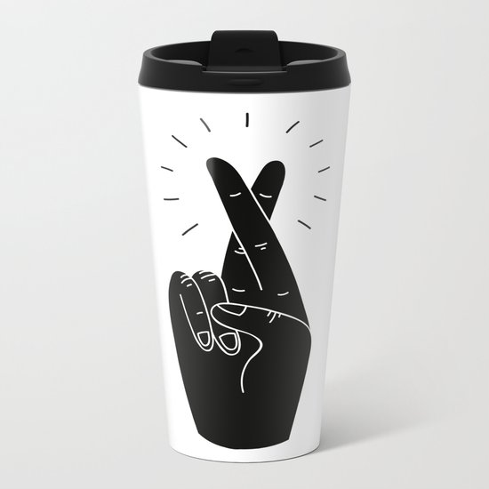 Fingers Crossed Metal Travel Mug