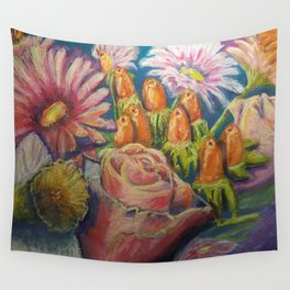Floral Pastel Painting Wall Tapestry