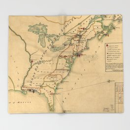 Vintage British Occupation Map of America (1765) Throw Blanket