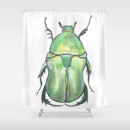 Green Beetle Shower Curtain
