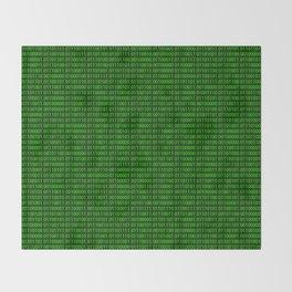 Binary numbers pattern in green Throw Blanket