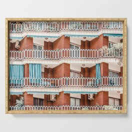 Urban Geometry Building Facade In Barcelona, City Architecture Pattern Print, Modern Architecture Print Serving Tray