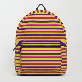 Purple, Pink and Yellow Vintage Thin Stripes Backpack