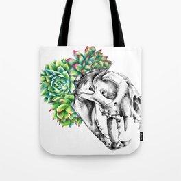 Rock Rose Cat Skull Tote Bag