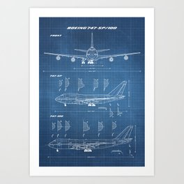 Boeing 747-SP and 747-100 Blueprint in High Resolution (light blue) Art Print