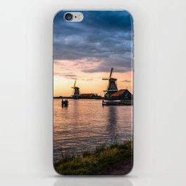 Windmills at sunset iPhone Skin