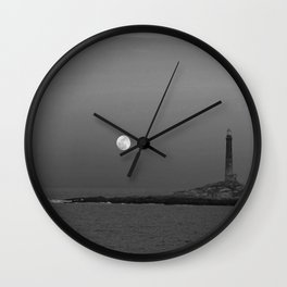 Black and white Moon over Thacher Island Wall Clock