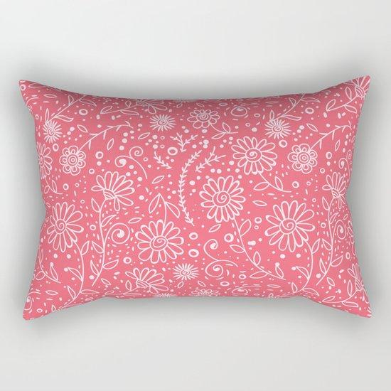 Red doodle floral pattern Rectangular Pillow