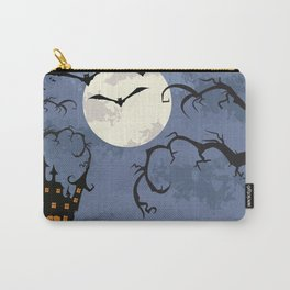 Halloween Spooky Scary House Moon Bats Pumpkin Trees Carry-All Pouch