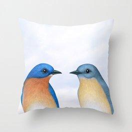 eastern bluebird portraits Throw Pillow