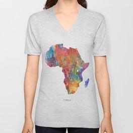 Africa Watercolor Map Art by Zouzounio Art Unisex V-Neck