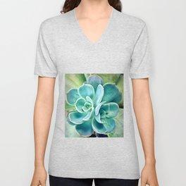 Blue Succulent Unisex V-Neck