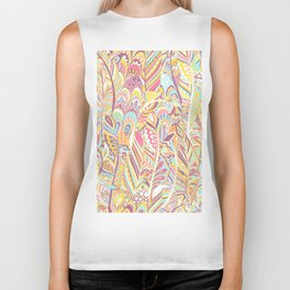 Abstract pink yellow teal hand painted bohemian feathers Biker Tank
