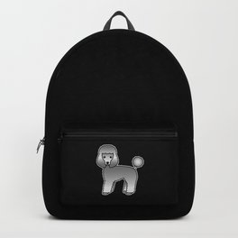 Grey Toy Poodle Dog Cute Cartoon Illustration Backpack