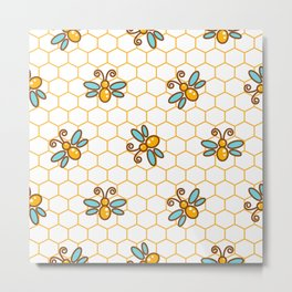 Line style bee yellow and blue pattern Metal Print