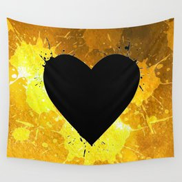 Yellow Watercolor splashed heart texture Wall Tapestry