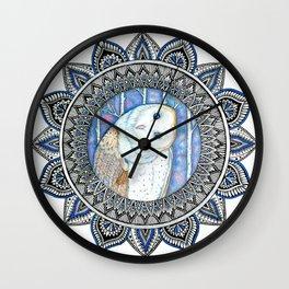 Winter Barn Owl Mandala Wall Clock