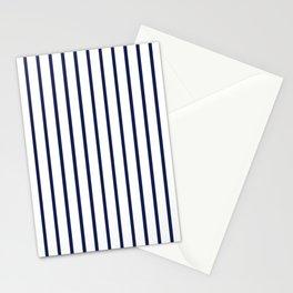 Vertical Navy Blue Stripes Pattern Stationery Cards