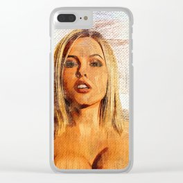 hot big boobs girl nice curves blond Clear iPhone Case