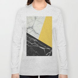 Black and White Marble with Pantone Primrose Yellow Long Sleeve T-shirt
