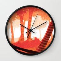 forrest Wall Clocks featuring Dawn forrest by Rafael T. Pimentel