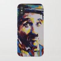 charlie chaplin iPhone & iPod Cases featuring Charlie Chaplin by Marta Zawadzka