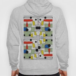 Black dots color block abstract Hoody