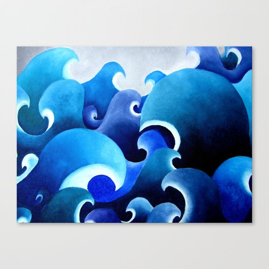 Ocean inspired print of an original painting waves Japanese style water blue sea storm crashing Canvas Print
