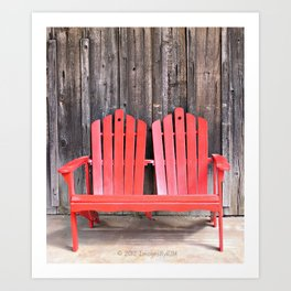 Barn and Red Andirondack Chairs  Art Print