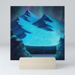 Aurora Borealis In The Mountain Pass Mini Art Print