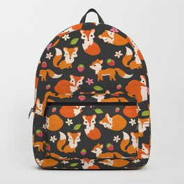 Cute Fox Illustration with Strawberries and Flowers Backpack